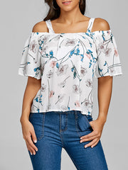 Open Shoulder Floral Chiffon Blouse