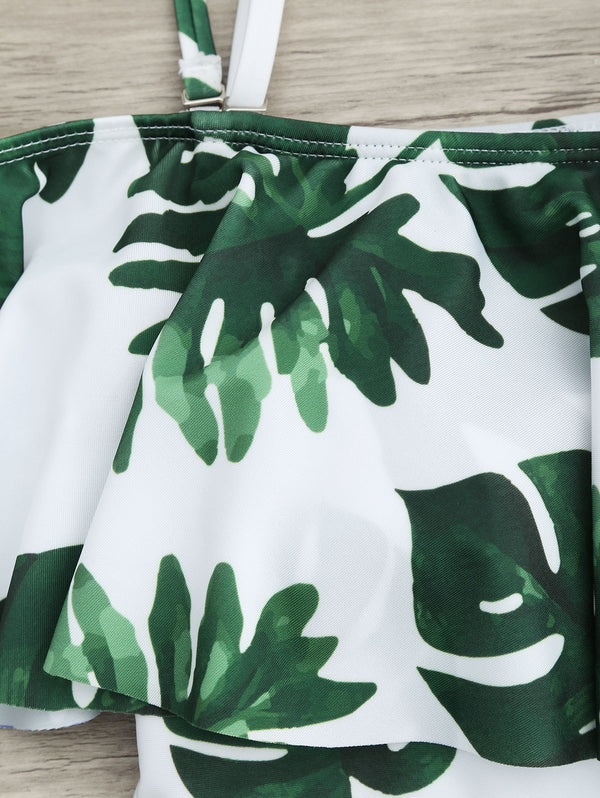 Tropical Off Shoulder Flounce Print Swimsuit