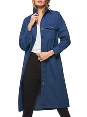 Pockets Long Denim Coat