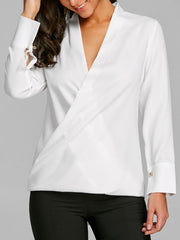 Plunging Neckline High Low Blouse