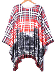 Batwing Sleeve Plaid Tropic Print Handkerchief Blouse