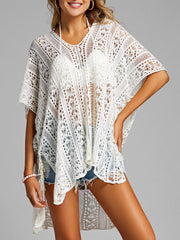 Tassel Side Slit Crochet Cover Up Top