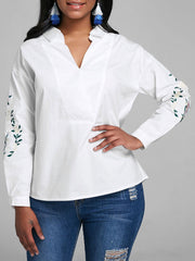 V Neck Floral Embroidered Blouse