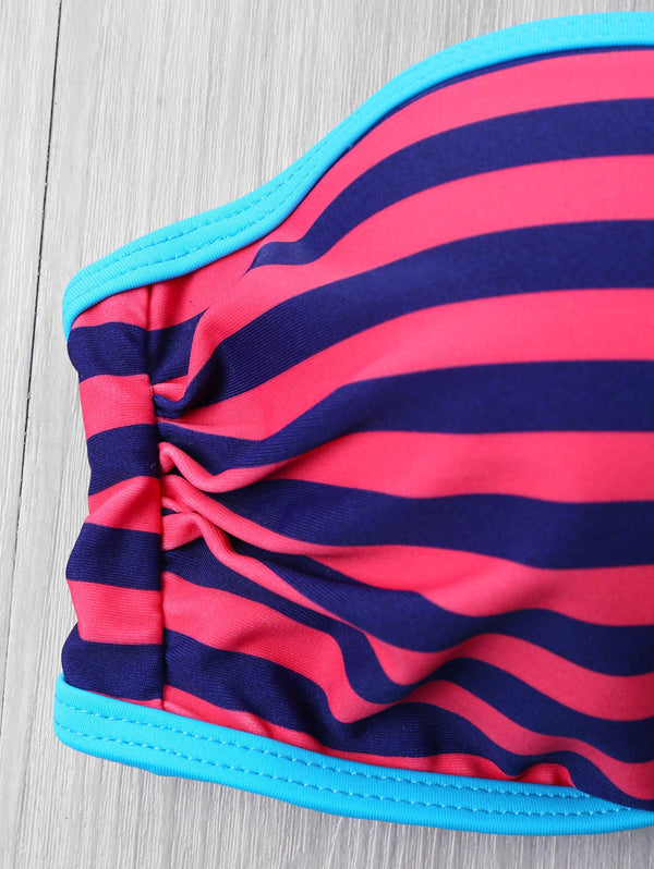 Push Up Stripe Bikini with Halter Neckline