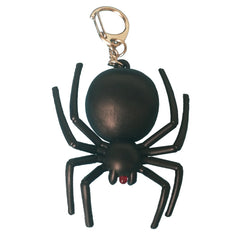 Noise-Making Black Spider Keychain with LED Light