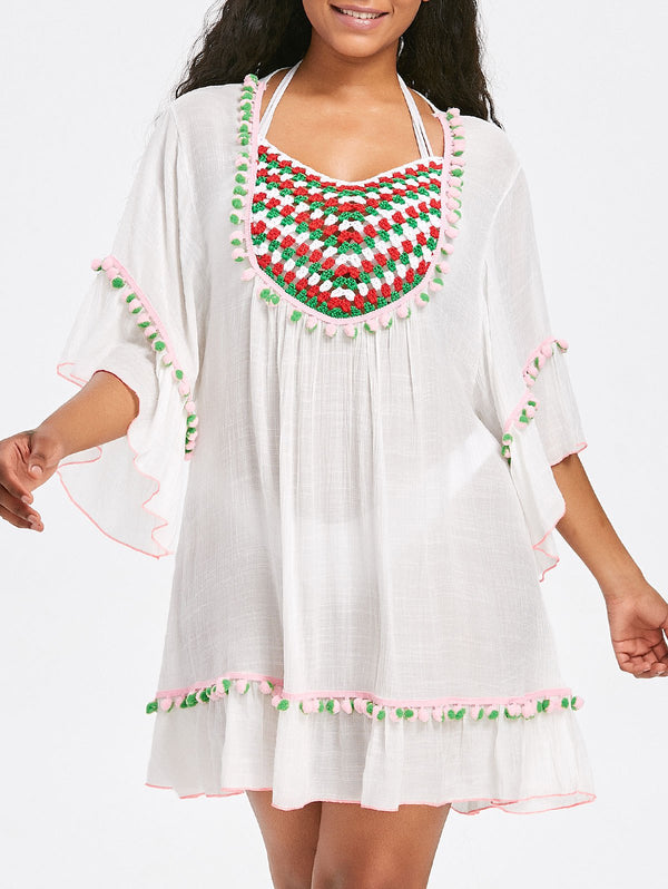 Crochet Insert Pompom Flare Sleeve Cover Up