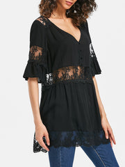Lace Panel Ses Thru Blouse