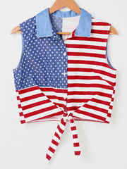 American Flag Print Sleeveless Shirt