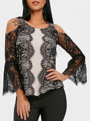 Lace Panel Eyelash Cold Shoulder Blouse