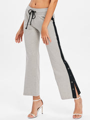 Drawstring Waistband Casual Ninth Pants with Button