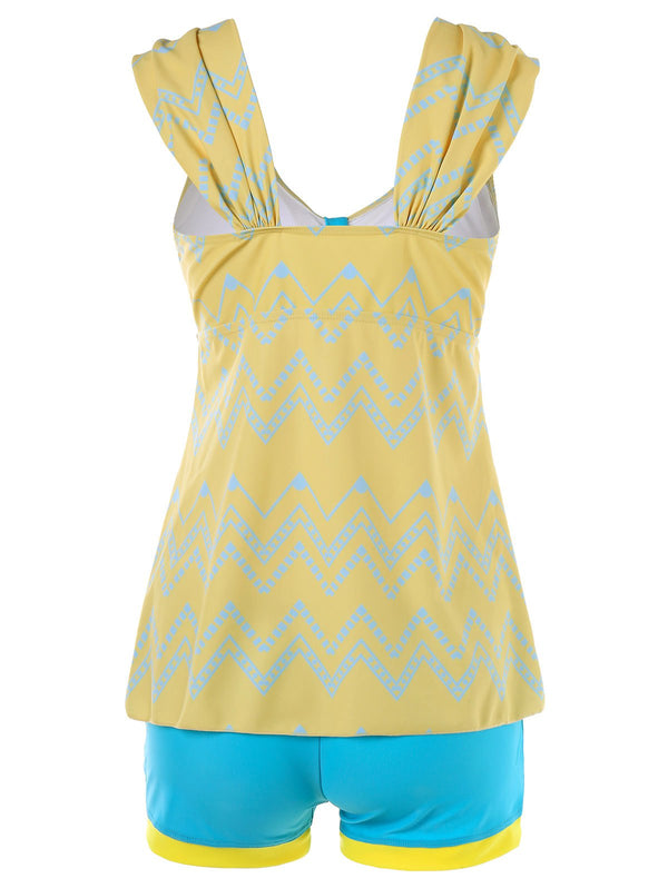 Color Block Zigzag Tankini Swimwear