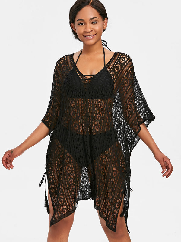 Asymmetric Knitted Tunic Cover Up