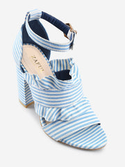 Striped Ruffless High Heel Ankle Strap Sandals