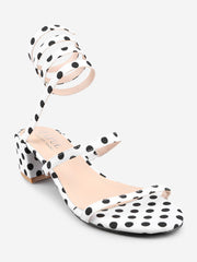 Polka Dot Ankle Strap Block Heel Sandals