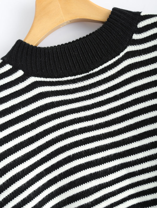 Mock Neck Batwing Sleeve Striped Sweater