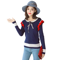 Trendy Scoop Neck Long Sleeve Ruffled Color Blocking Knitted Women Sweater