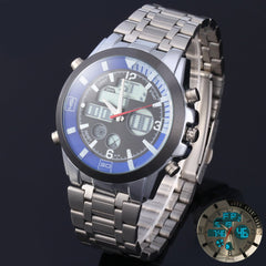 TM019A Men Import Movtz Double Times Watch Cold Light Alarm Stopwatch Round Dial Alloy Watchband