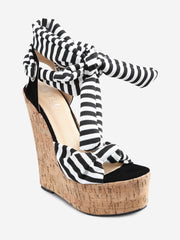 Wedge Heel Chic Striped Lace Up Sandals