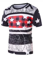 Abstract Line Star Print Casual T-shirt