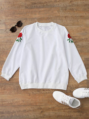 Pullover Flower Embroidered Sweatshirt