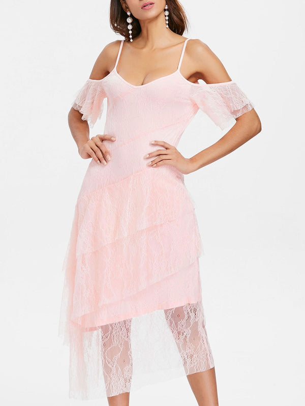 Ruffles Sleeve Tiered Lace Overlay Dress