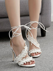Leisure High Heel Ruffles Lace Up Sandals