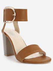 Block Heel Metal D Shaped Buckled Sandals