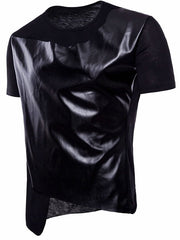 PU Leather Panel Asymmetric T-shirt