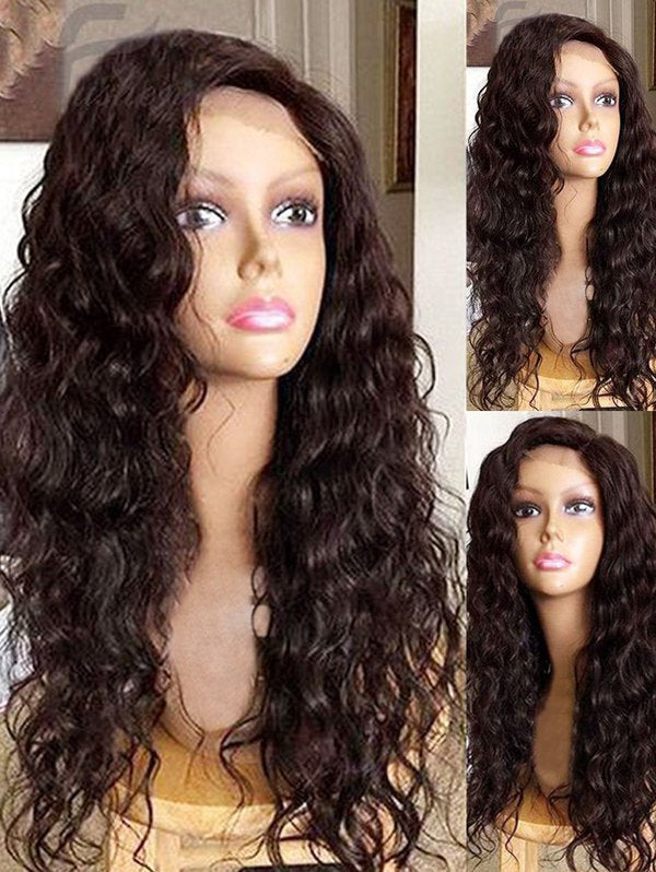 Long Side Bang Water Wave Lace Front Synthetic Wig