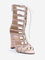High Heel Cadged Hollow Out Gladiator Sandals
