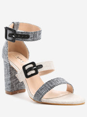 Contrasting Color Block Heel Sandals