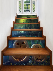 Halloween Night Castle Print Removable Stair Stickers
