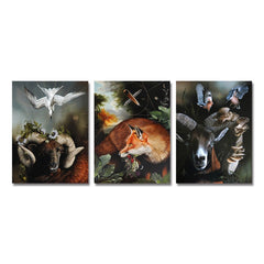 3PCS Animals in The Forest Print Art