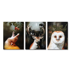 3PCS Head of Forest Animals Print Art