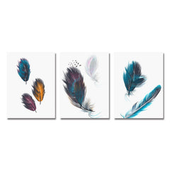 3PCS Beautiful Feather Print Art