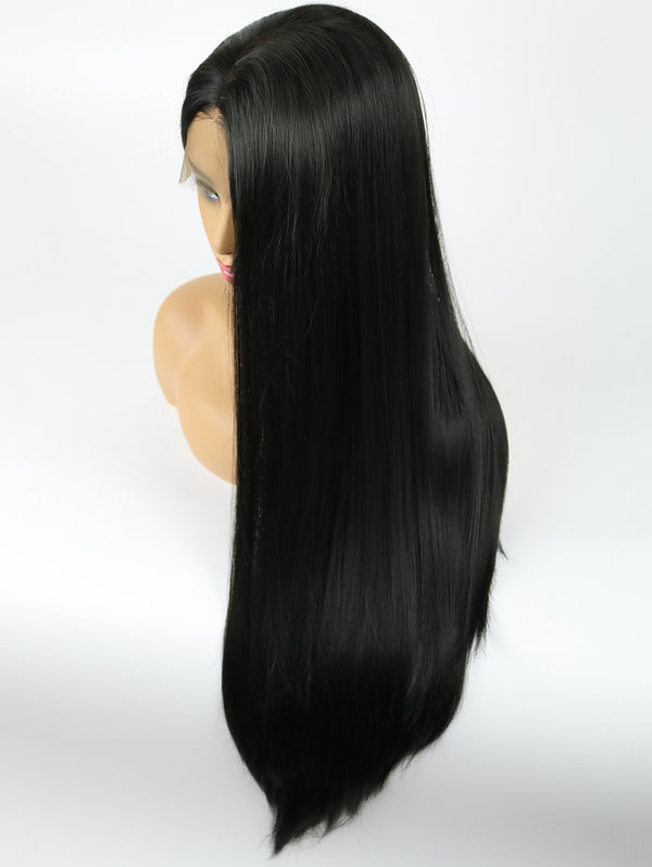 Center Parting Long Straight Party Synthetic Fiber Lace Front Wig