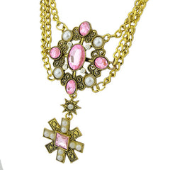 Fashion Metal Chain Gemstone Geometric Necklace for Women