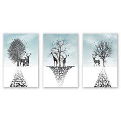 3PCS W534 Elk Triple Living Room Decoration Spray Painting