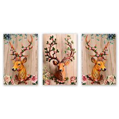 3PCS W531 Elk Bedroom Restaurant Frameless Painting