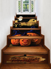 Halloween Night Pumpkins Print Removable Stair Stickers