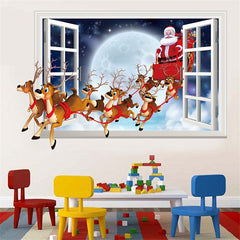 Santa Claus Sleigh Deer 3D Wall Stickers