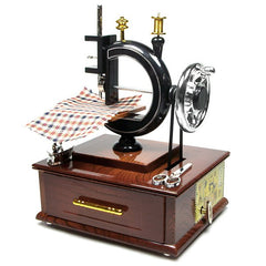 Retro Sewing Machine Music Box with Drawer Desktop Ornaments Gift