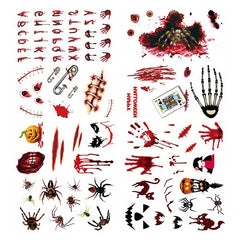 Waterproof Scar Pattern Sticker Halloween Tattoo 18pcs