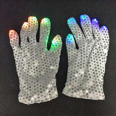 LED Seven-color Luminous Gloves Cool Dance Equipment Halloween Prom Party Gifts 2pcs