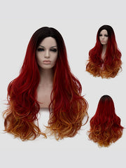 Long Side Parting Colorful Slightly Curly Party Synthetic Wig