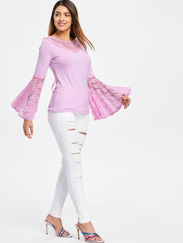 Bell Sleeve Lace Insert Lace Up T-shirt