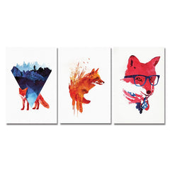 DYC 3PCS Fox With Glasses Print Art