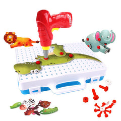 Animal 3D Puzzle Electric Drill Screw Nut Assembly Toy Dinosaur Elephant