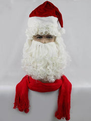 Long Side Bang Fluffy Curly Cosplay Santa Claus Wig With Beard