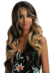 Long Side Parting Ombre Wavy Synthetic Lace Front Wig